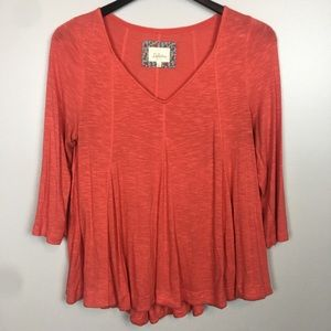 Anthropologie Deletta Godet Orange Swing Top